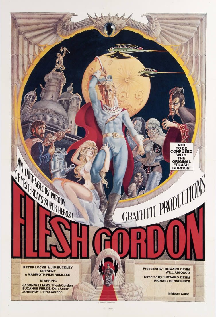 Flesh Gordon, starring Jason Williams, Suzanne Fields and John Hoyt. Directed by Howard Ziehm and Michael Benveniste, 1974