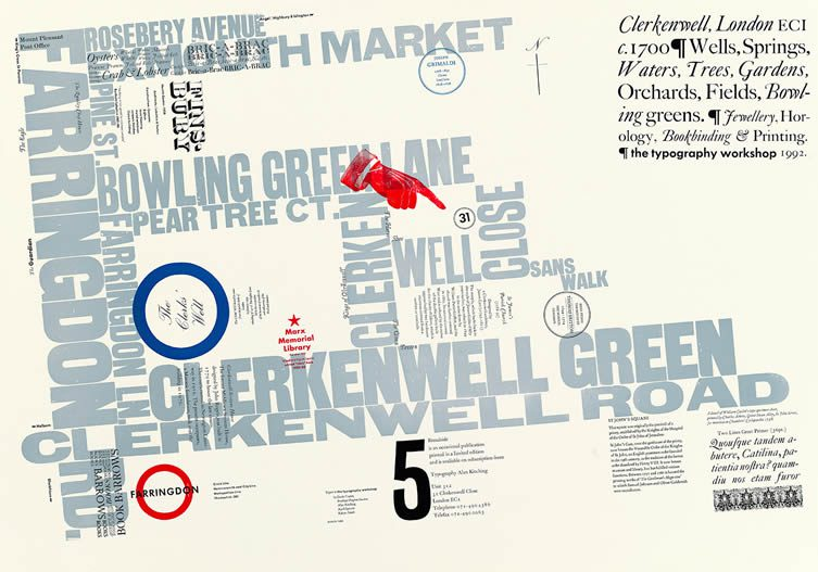 Broadside Number 5, early typographic map, 1992