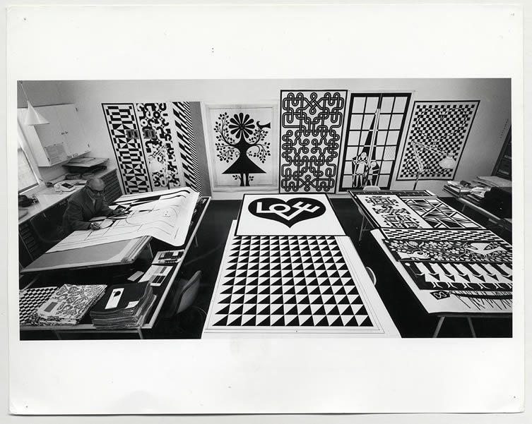 Alexander Girard designing his Environmental Enrichment Panels