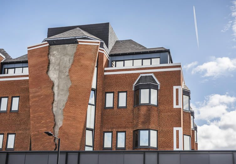 Alex Chinneck, Six pins and half a dozen needles Installation at Assembly London, Hammersmith