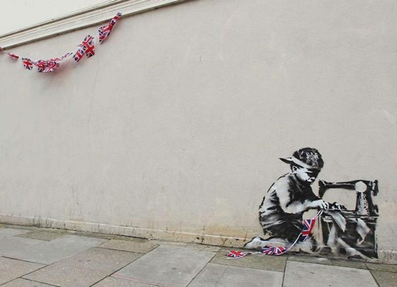 Banksy Gets the Bunting Out in North London