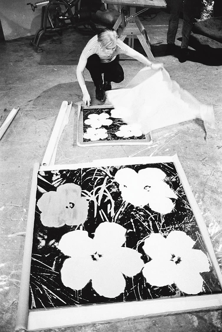 Andy Warhol silk-screening Flowers, 1965-7