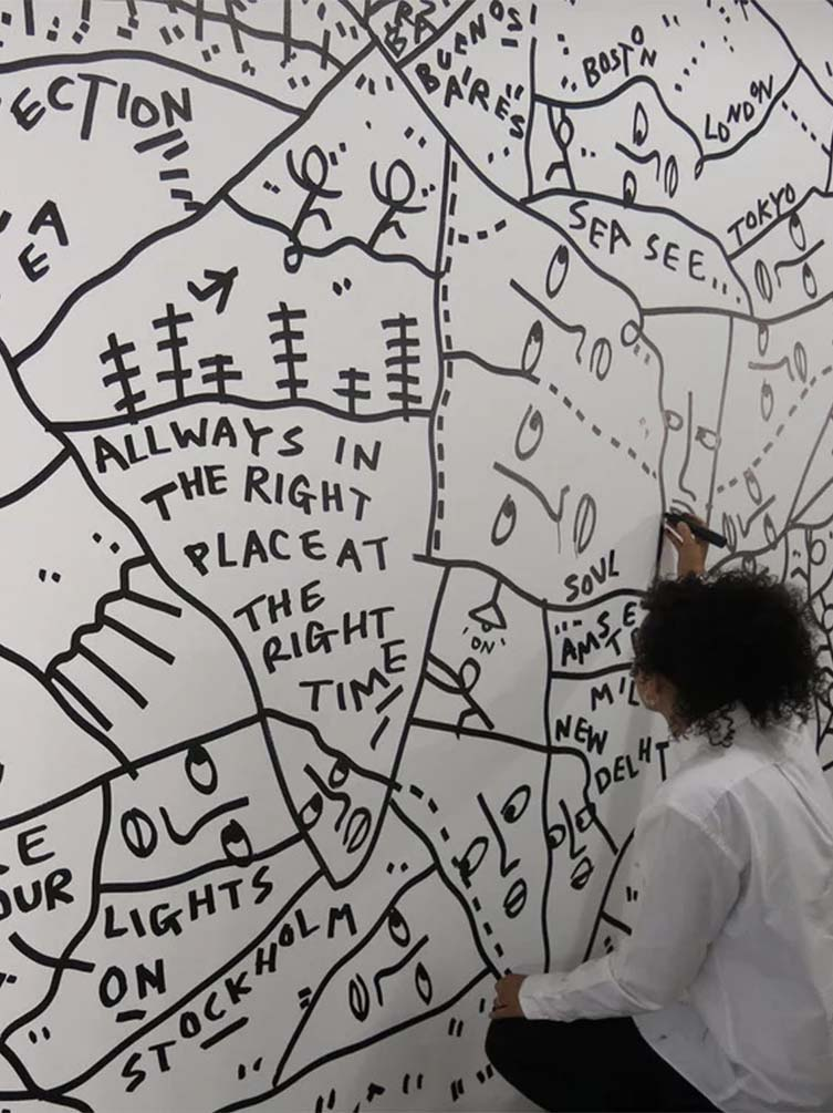 Shantell Martin, Walk Into Work mural at Facebook Menlo Park HQ