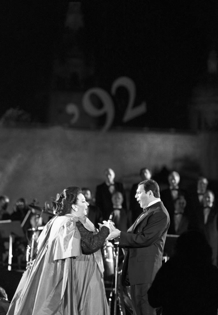Spanish soprano Montserrat Caballe and British rock singer Freddie Mercury perform Barcelona, composed by the Queen frontman, at the La Nit festival