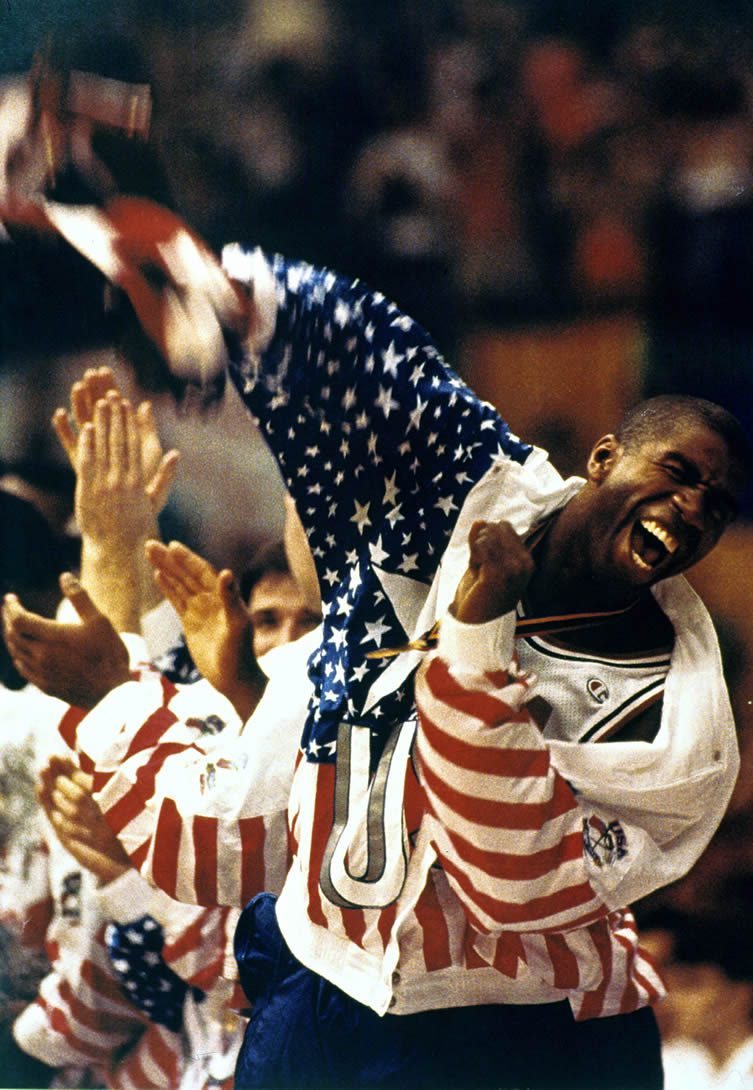Magic Johnson ecstatic after the American team's defeat of Croatia 117-85 in the basketball final at the Barcelona '92 Olympic Games