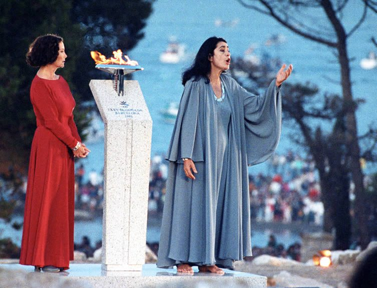 Actresses Nuria Espert and Irene Papas during the event to welcome the Olympic flame following its journey from the Greek city of Olympia