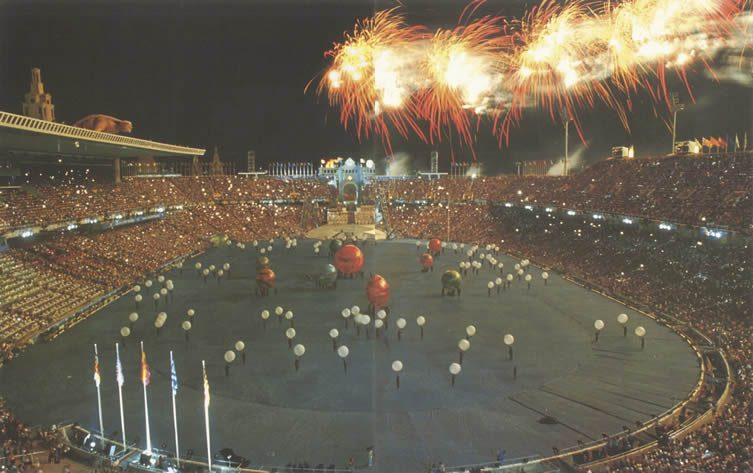 The opening ceremony of the 1992 Summer Olympics, taking place Saturday 25 July in the Estadi Olímpic Lluís Companys