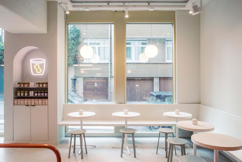 Buddy Buddy Brussels Nut Butter Café Designed by HOP Architects, Branding by Futura