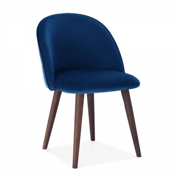 Blue Velvet Dahlia Dining Chair