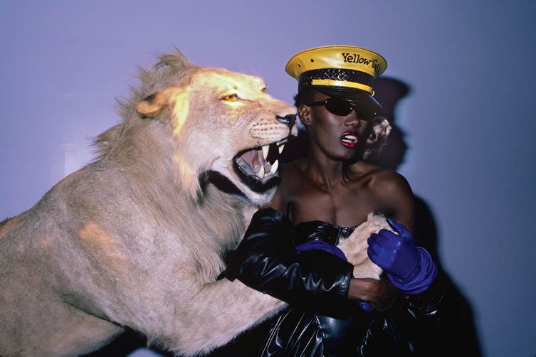 Volker Hinz, Grace Jones at 'Confinement' theme, Area, New York, 1984