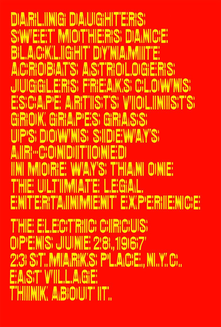Poster for the Nightclub The Electric Circus, New York, 1967