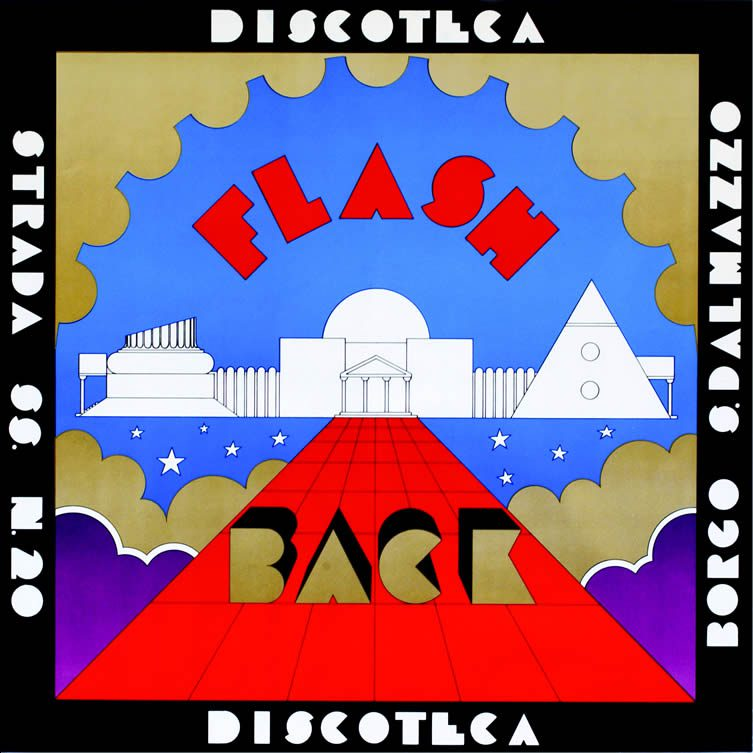 Poster for the Discotheque Flash Back, Borgo San Dalmazzo, 1972