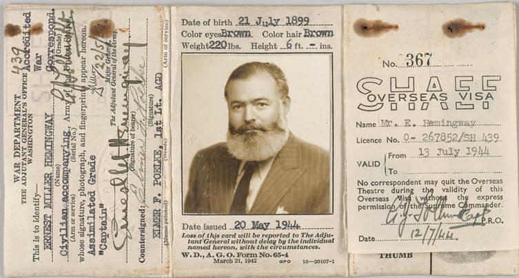 Ernest Hemingway's Certificate of Identity
