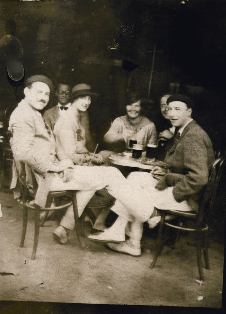 Hemingway (at left) during the Fiesta of San Fermin in Pamplona