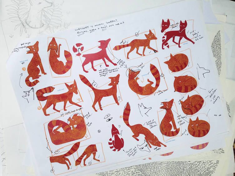 Roughs of the Fox from Coralie Bickford-Smith's sketchbook