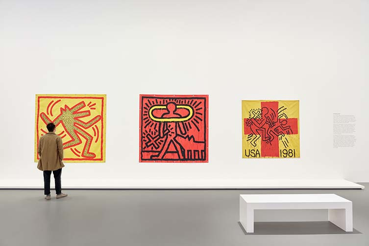 Installation views of Keith Haring | Jean-Michel Basquiat: Crossing Lines at NGV International