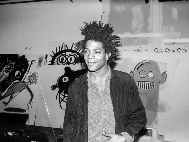 Jean-Michel Basquiat in his studio at the Annina Nosei Gallery