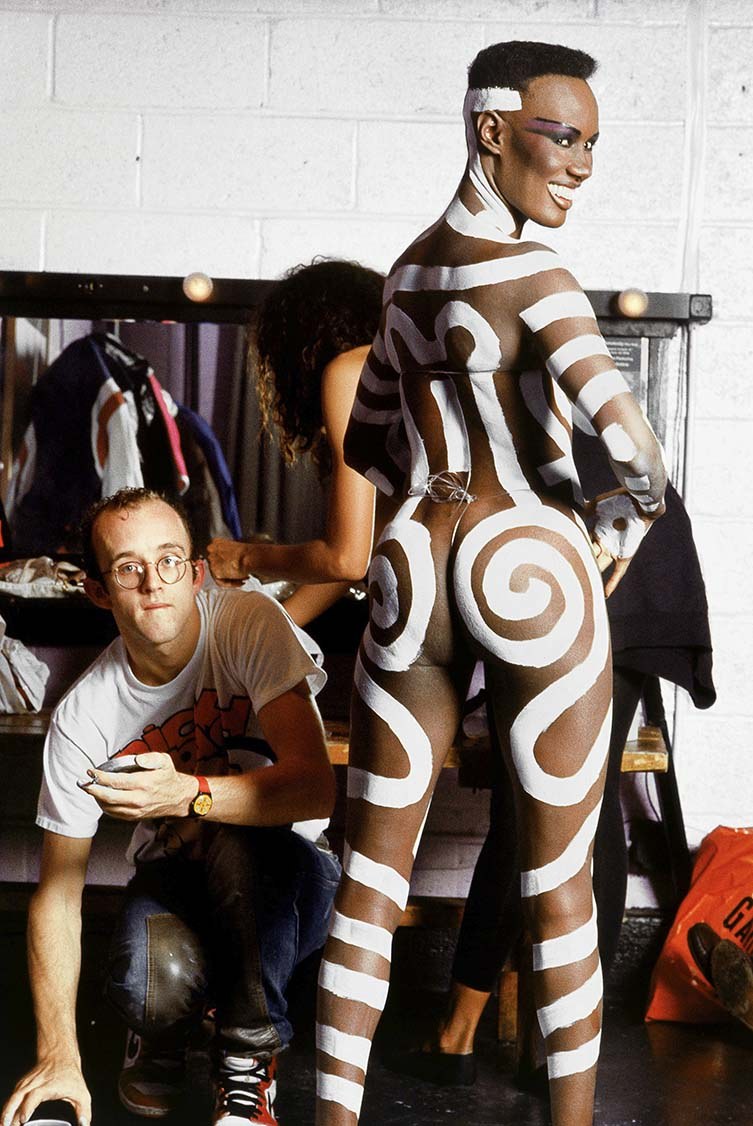 Grace Jones body painted by Keith Haring, New York, 1985