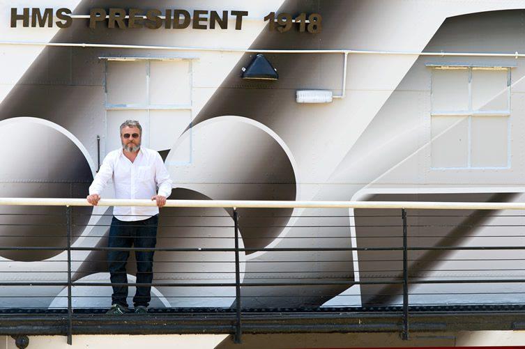 Tobias Rehberger — Dazzle Ship London, at HMS President for 14-18 Now