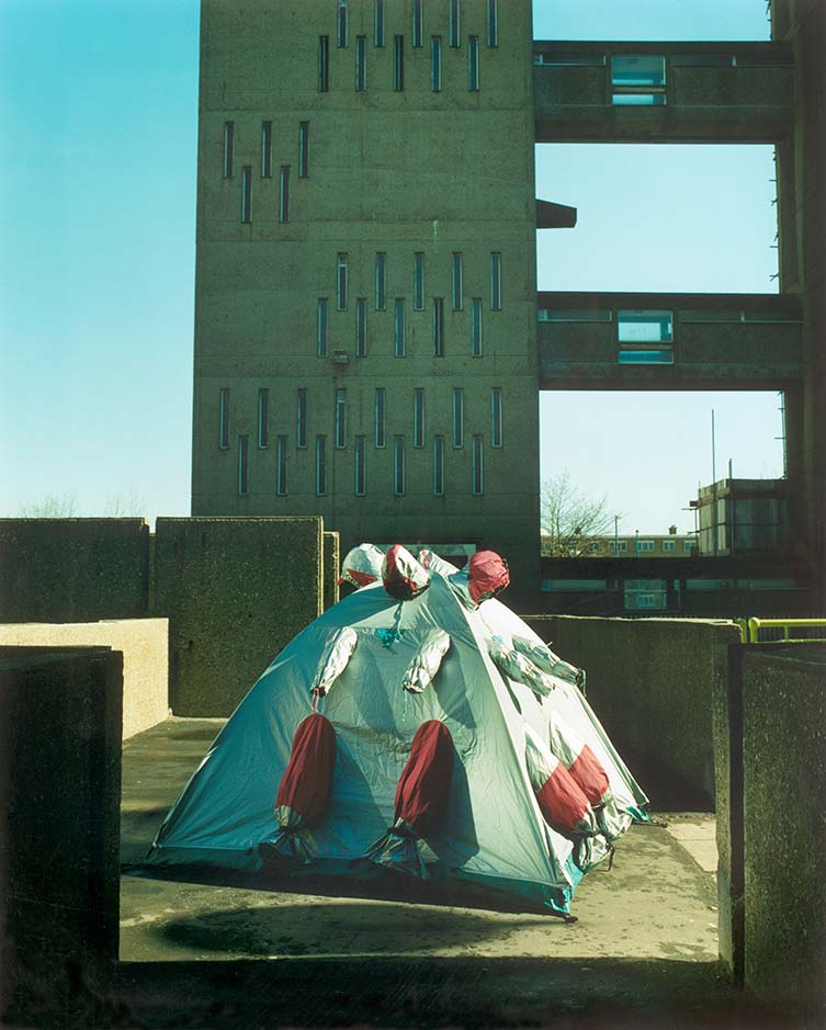 Refuge Wear Intervention, London East End 1998 by Lucy + Jorge Orta. Photograph by John Akehurst.