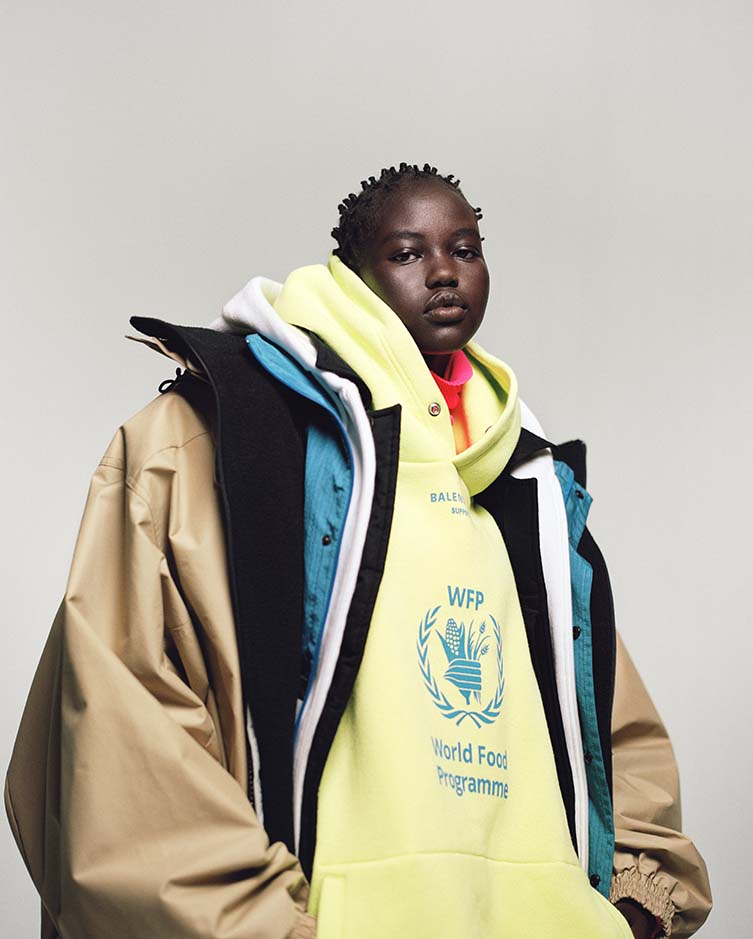Model Adut Akech wears Balenciaga in i-D's The Earthwise Issue, Fall 2018. Photograph: Campbell Addy. Styling: Alastair McKimm.