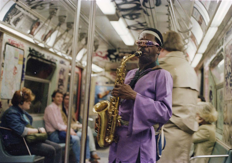 Jamel Shabazz, Saxophone Man, Brooklyn, NYC 1985