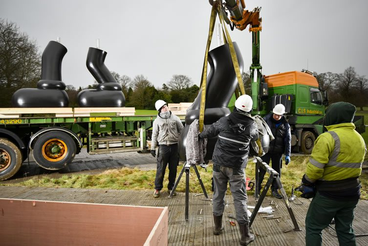 Installation of KAWS sculpture at Yorkshire Sculpture Park
