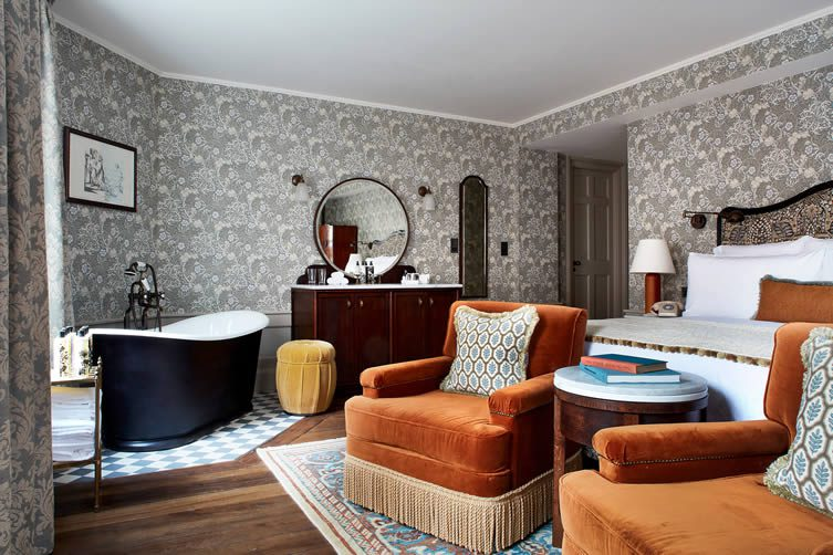 The bedrooms sweep you away to a bygone era, the ornate appeal of the Arts and Craft Movement keenly felt; it all feeling a little like William Morris himself was in charge of styling.
