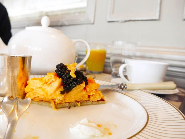 Tucking into breakfast in the Grade II-listed dining room, including eggs with Exmoor caviar