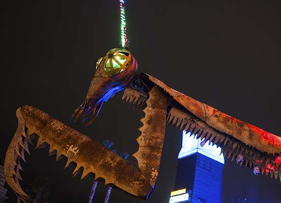 Downtown Container Park's Fire-Breathing Mantis