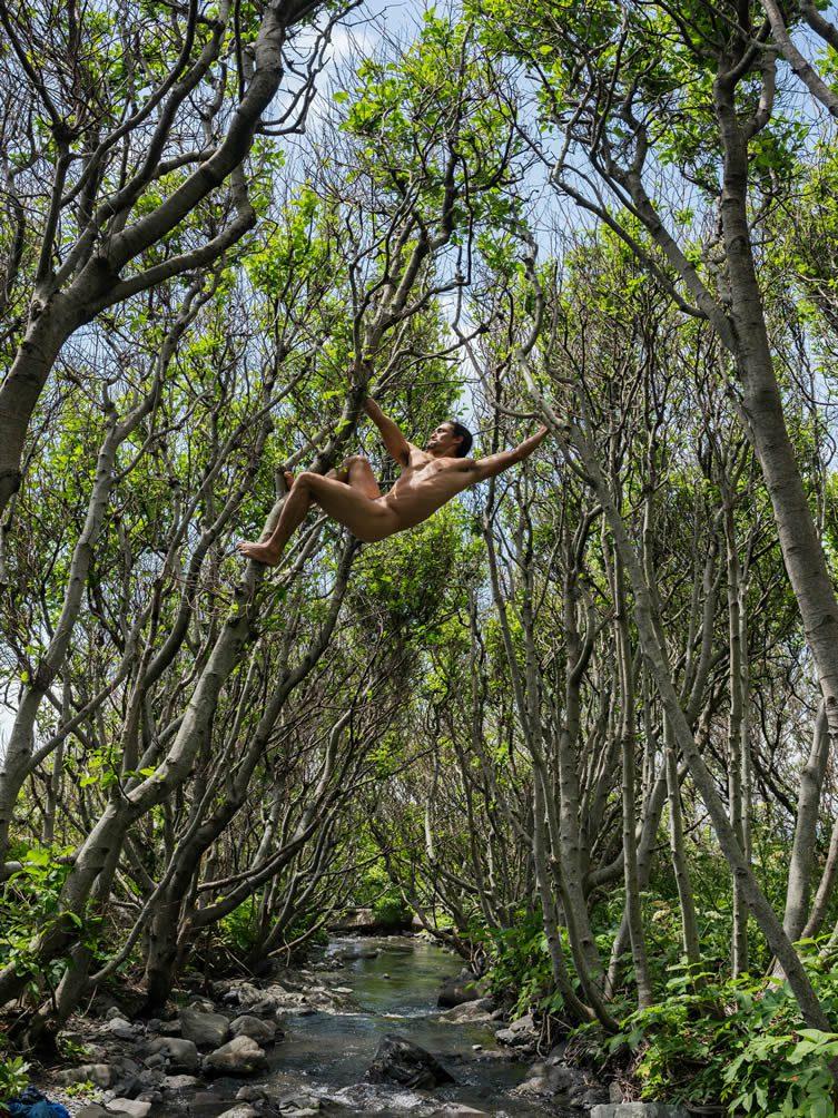 Matt Swinging between Trees, Lost Coast, California