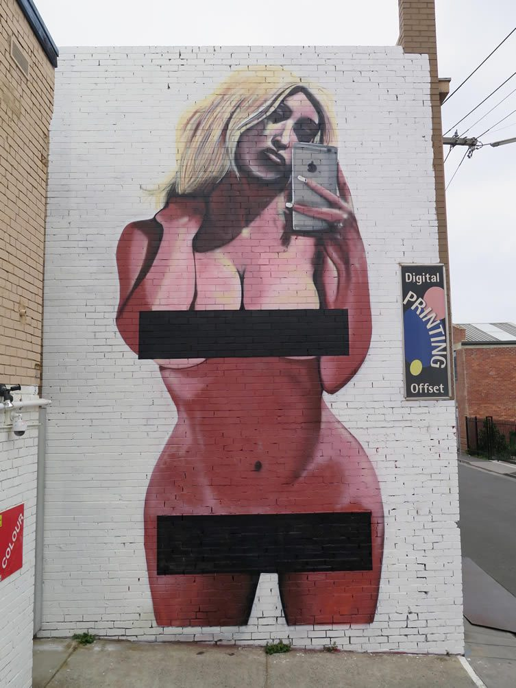 Kim Kardashian Nude Selfie Street Art