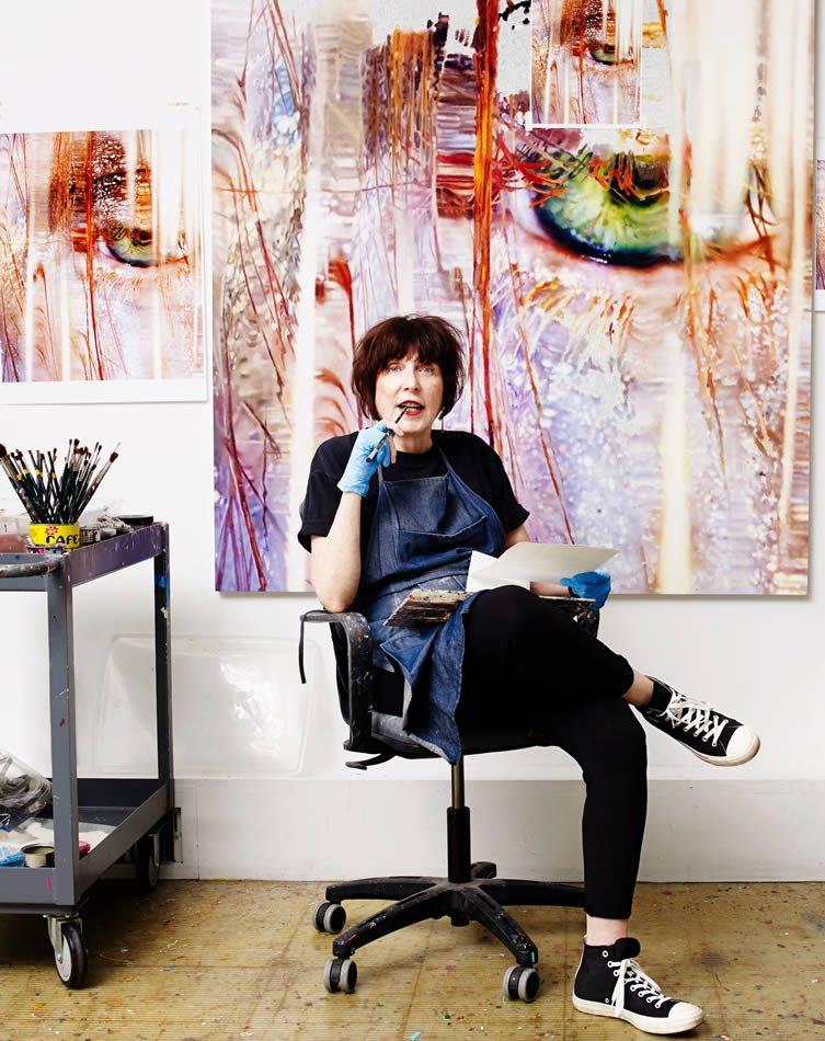 Marilyn Minter in her studio