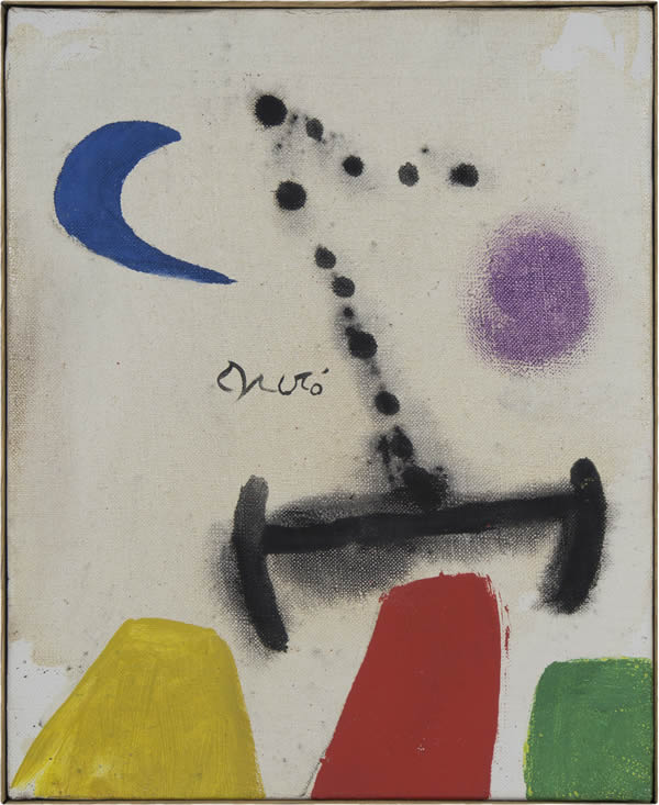 Joan Miró, Woman in front of the moon, 1978, , Oil on canvas, 27 x 22 cm (10.6 x 8.7 in.) Courtesy of Mayoral