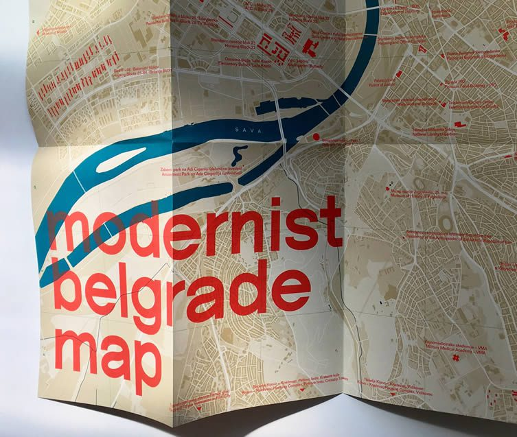 Modernist Belgrade Map by Blue Crow Media Architecture Maps