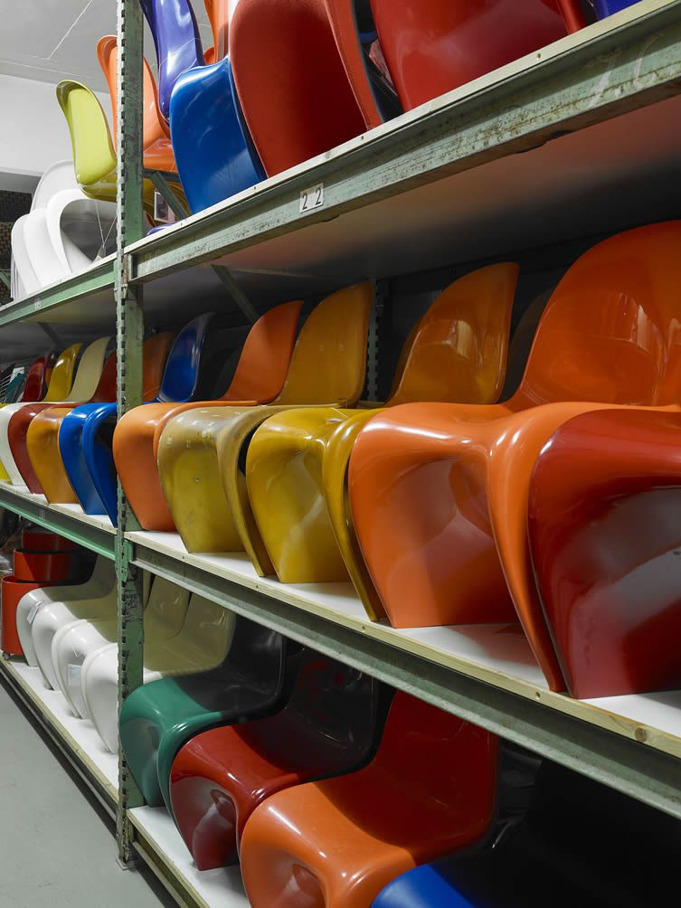 Collection of Panton Chairs at the Vitra Schaudepot