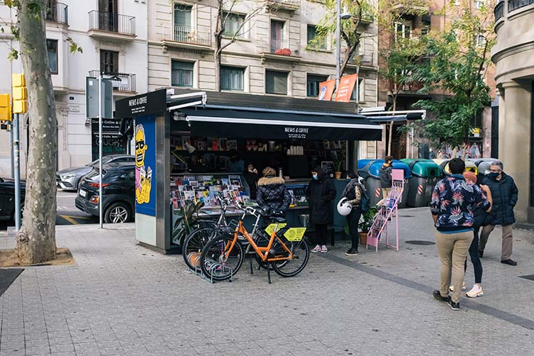 Barcelona Newsstand with Independent Magazines and Third Wave Coffee