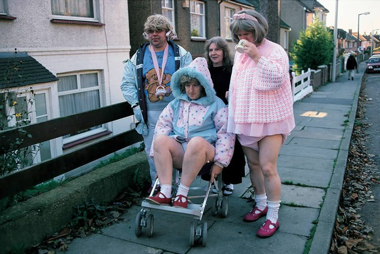 Snuggles, Julianne, Mummy Hazel, and Cathy in the street, 1994-1999