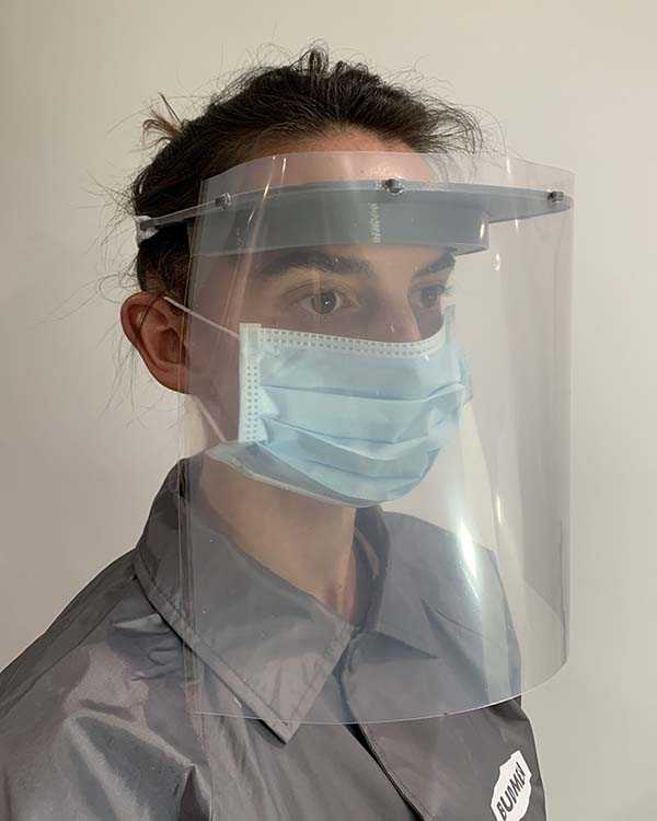 Isaac Budmen and Stephanie Keefe, who produce custom 3D printers in their Upstate New York home as Budmen Industries, have conceived an open-source face shield design that can be downloaded and 3D-printed for the fight against COVID-19
