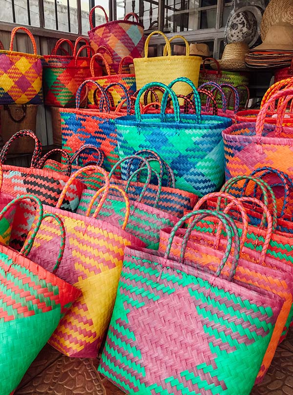 The colourful beach bags that Reotee Buleeram makes for SALT of Palmar at her workshop in the small village of Brisée Verdière on the east of the island