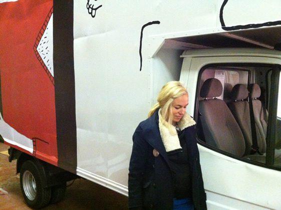 Sandrine Boulet's Red Stripe Van