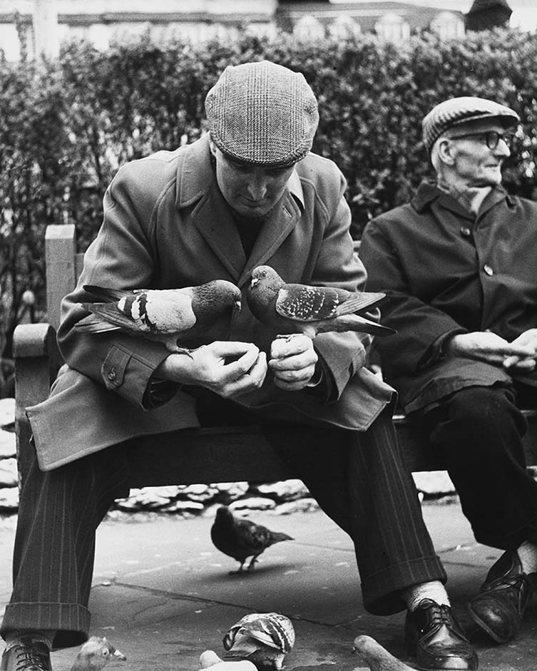 Shirley Baker Manchester (Man with Pigeons), 1967