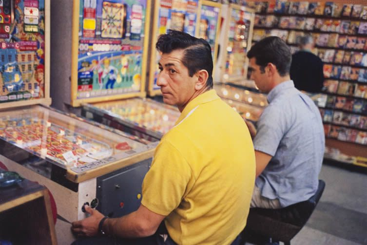 William Eggleston, Las Vegas, (yellow shirt guy at pinball machine), 1965-68
