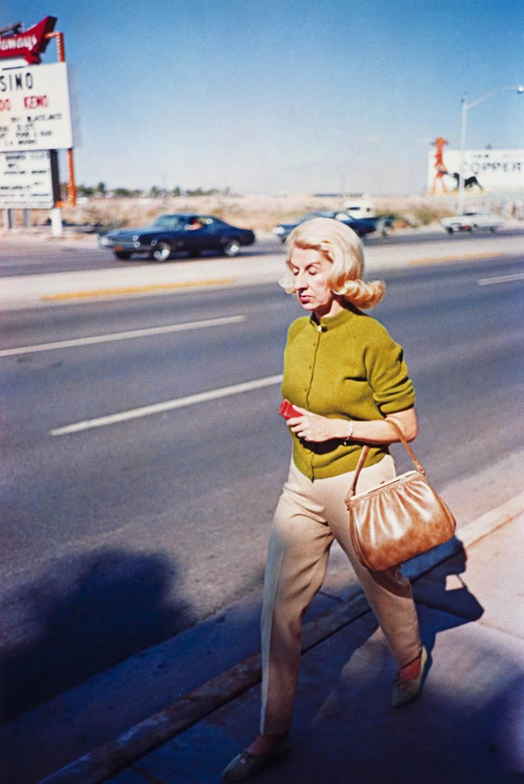 William Eggleston, Las Vegas (woman walking on sidewalk), 1965-68