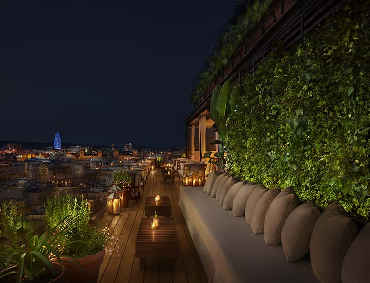 The Roof with its with panoramic views over the famous old city and an abundance of flora that gives the impression of partying in a sky-high garden.