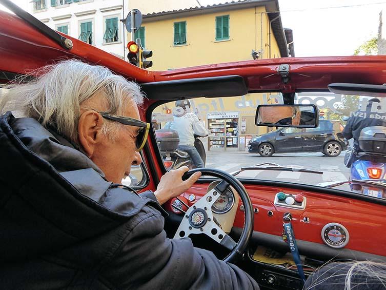 1966 Ferrari-red Fiat Cinquecento