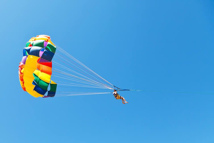 Parasailing over Lake Wanaka in New Zealand