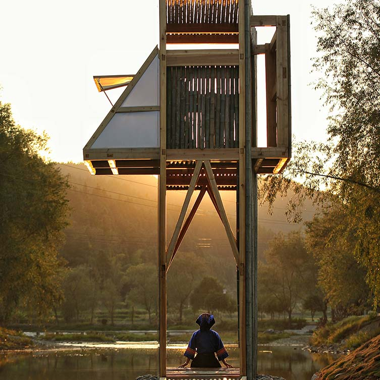 The Mirrored Sight Shelter Viewing House, Tea House by Li Hao-one Take Architects is Winner in Architecture, Building and Structure Design Category, 2017 - 2018.