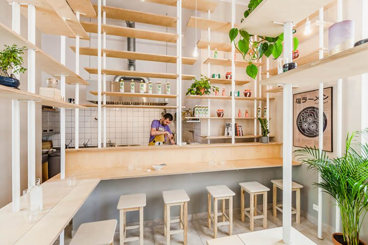 Vegan Ramen Shop Warsaw, Finlandzka Street by MFRMGR Architects