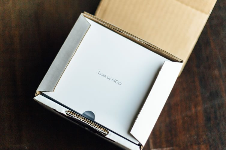 Unboxing MOO Luxe Business Cards